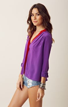 Silk Two Tone Blouse // purple and red? yes