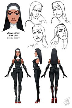 This is a model sheet that I did for one of the Saints from Hitman. - character design - This is a model sheet that I did for one of the Saints from Hitman. It is a trial to translate the - Character Design Sketches, Character Design Girl, Character Design Animation, Character Design References, Character Design Inspiration, Character Illustration, Digital Illustration, Character Reference Sheet, Female Character Concept