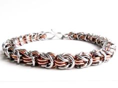 Hey, I found this really awesome Etsy listing at https://www.etsy.com/listing/71762224/copper-stainless-chainmaille-bracelet