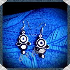 handmade paper earring (black & white)