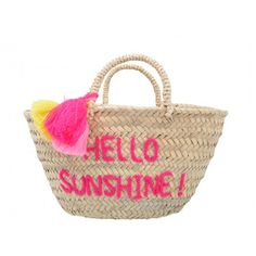 """hello sunshine"" embroidered pom pom basket by Rose in April"
