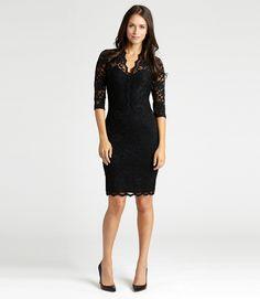 V Neck Scallop Hem Lace Dress-Black-XS