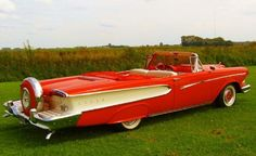 1958 Edsel Pacer Red and White Convertible.
