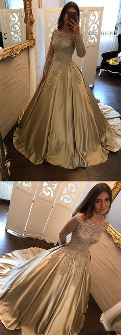 #Satin #Prom #Dress,#BallGown Prom Dress,#LongSleeve Bridal Gowns,#Lace Prom Gown