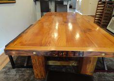 wood table from all reclaimed wood Rustic Farm Table, Reclaimed Wood Dining Table, Rustic Wood Furniture, Recycled Furniture, Recycled Wood, Wood Table, Farm Tables, Restaurant Patio, Table Plans