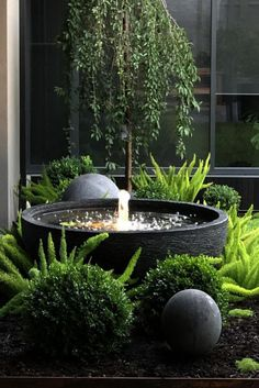 Water bowl bubbler feature with stone ball is part of Garden fountains - Small Courtyard Gardens, Small Courtyards, Small Gardens, Outdoor Gardens, Small Patio Ideas On A Budget, Small Back Garden Ideas, Water Features In The Garden, Small Water Features, Outdoor Water Features