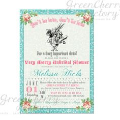 Bridal Shower Invitation  Mad Hatter Tea by GreenCherryFactory, $18.00