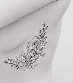 Girl rib tattoos, tattoo ribs, flower tattoo on ribs, vine tatt Flower Tattoo On Ribs, Birth Flower Tattoos, Flower Tattoo Shoulder, Flower Tattoo Designs, Butterfly Tattoos, Delicate Flower Tattoo, Tatto Designs, Rib Tattoos For Women, Shoulder Tattoos For Women