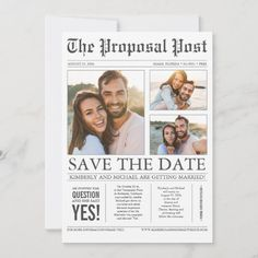 Newspaper Style Fun 3 Photos Save the Date Wedding Save The Date Examples, Destination Wedding Save The Dates, Unique Save The Dates, Save The Date Photos, Save The Date Postcards, Save The Date Magnets, Save The Date Cards, Funny Wedding Invitations, Engagement Invitations