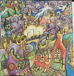 Updated picture of the Chimneys and Rooftops page of the Magical City adult coloring book. Colored with inktense pencils and activated with a waterbrush by Dayna Brown. I added moor shadows around buildings and swirls. Previous page still posted on Pinterest in my adult coloring book boards. 4-5-2015