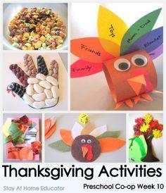 Thanksgiving Themed Preschool Activities: Preschool Co-op Week 10 from Stay At Home Educator