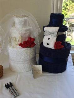 Bride and Groom Towel Cake
