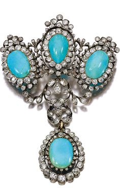 TURQUOISE AND DIAMOND BROOCH, LATE 19TH CENTURY Of cluster and foliate design, set with four cabochon turquoises, cushion-shaped, circular-cut and rose diamonds, French import and partial assay marks, later pin fitting, two small rose diamonds deficient.