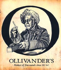 Ollivander's. Set up a table with home made wands and this poster. Genius!