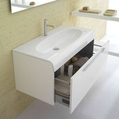 The Bowl+ One Drawer Vanity is a simple single vanity. http://www.ybath.com/blog/top-10-single-modern-vanities/