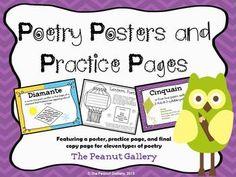 Poetry forms included are:  1. Couplet  2. Triplet  3. Haiku  4. Lune  5. Quatrain  6. Lantern  7. Tanka  8. Cinquain  9. Limerick  10. Diamante  11. Acrostic