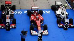 Los autos de los pilotos que subieron al podio en el GP de Malasia 2012 #F1 #ChecoPerez