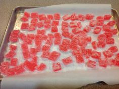 THM (FP) - Gummy Candy (shared by Shari Anderson) 3 envelopes unflavored gelatin, 1 1/4 c water divided, 1 1/2 c xylitol, 1/2 t raspberry extract or Lemon or orange, Food color Additional sweetener to coat.  (See directions in comments below)