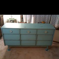 Mid century dresser I painted and added new knobs, love those legs..