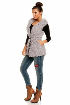 Γούνινο γιλέκο Maia Hemerra με κουκούλα - Γκρι & Μαύρο Θα το βρεις εδώ http://mikk.ro/Zum