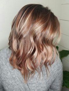 😁Hunny's Choice😁 Smoky Rose Gold Hair Balayage Blond, Hair Color Balayage, Hair Highlights, Rose Gold Highlights, Blonde Color, Blonde Ombre, Fall Blonde Hair, Fall Hair, Gold Hair Colors