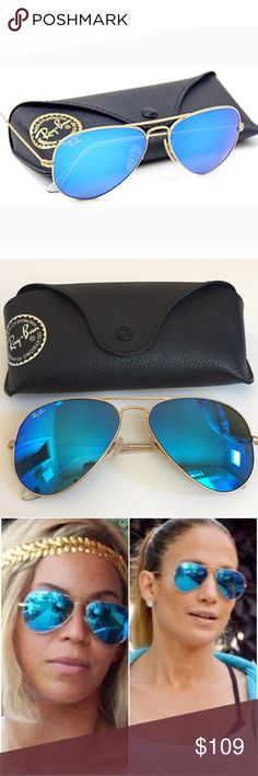 e461d89fc8a8a RAY-BAN Gold Blue Flash Large Aviator Sunglasses Excellent condition. There  are some light scratches on the lenses that came from being placed on a  table