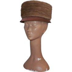 Vintage 1960's Dark Peach Satin Hat With Mink.  My mom would have loved this.  She was a fancy lady!