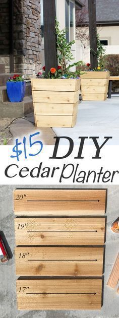 $15 Modern Cedar Planter - Remington Avenue #outdoorcedarfurniture