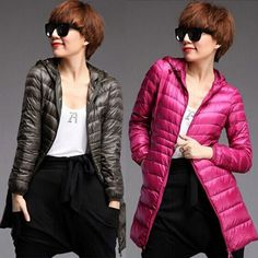 Fashion 2014 New Winter Down Parka Womans Slim Hooded White Duck Down Jacket Warm Down Overcoat Light Outerwear