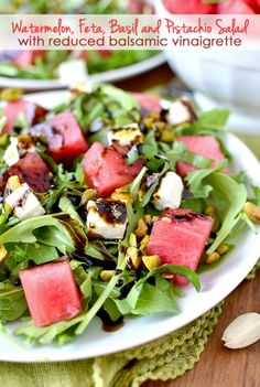 Watermelon, Feta and Pistachio Salad with Reduced Balsamic Vinaigrette | iowagirleats.com
