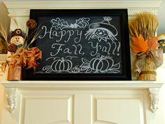 Fall range hood mantel with chalkboard art.