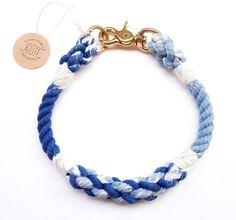 Braided Non Choke Rope Dog Collar Pick Your by EmiiDesignsStudio