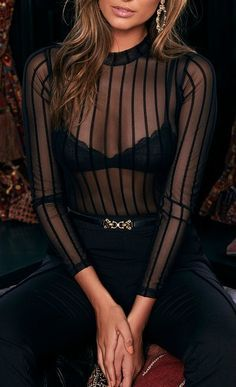 The Draw the Line Black Striped Mesh Bodysuit proves that boundaries are made for pushing! Velvet stripes accent this sheer mesh bodysuit. Cute Lingerie, Lingerie Outfits, Luxury Lingerie, Lingerie Dress, Style Boho, My Style, Pullover Shirt, Trendy Swimwear, Lace Bodysuit