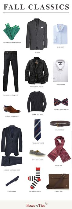A Checklist For The Must Have Menswear Pieces for Fall Style 2014 #infographic