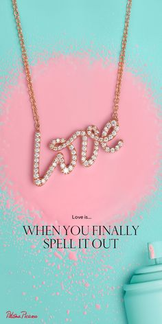 Let Tiffany help you find the words. Paloma's Graffiti love pendant in 18k rose gold with diamonds.