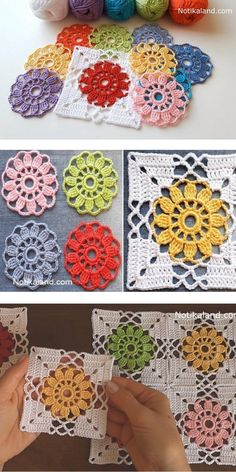 This floral motif looks really enchanting and delicate because it looks like a lace, don't you think? These beautiful. Crochet Motif Patterns, Crochet Blocks, Afghan Patterns, Flower Patterns, Crochet Granny Square Afghan, Granny Granny, Square Blanket, Crochet Cushions, Crochet Pillow