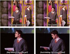 I love the voice they gave the Basilisk! - A Very Potter Senior Year Harry Potter Musical, Harry Potter Marauders, Harry Potter Universal, Harry Potter Memes, Team Starkid, Avpm, Darren Criss, Mischief Managed, Senior Year