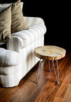 Indoor/Outdoor Canary Island Pine Tree Slice Table Top   Side Table On Hair  Pin
