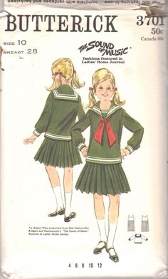 Butterick 3701 1960s Girls Sailor Top and Knife by mbchills