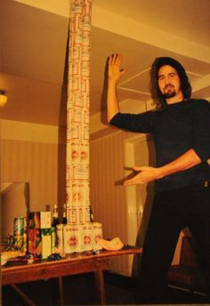 The greatest achievement of his life is obviously, erecting this can-tower. Duh.