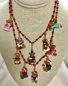 Christmas Teddy Bears Gold Red Brass Bib Rosary Bead Assemblage Upcycled Necklace Doodaba Christmas Teddy Bear, Christmas Necklace, Diy Jewelry, Unique Jewelry, Rosary Beads, Teddy Bears, Red Gold, Diy And Crafts, Brass