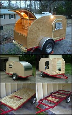 How To Build A Teardrop Trailer theownerbuilderne. If you love the idea of your own camper trailer, but don't like the price tag, you could always build your own. Take this Teardrop Trailer measuring which can accommodate two people for sleep Teardrop Trailer Interior, Teardrop Trailer Plans, Building A Teardrop Trailer, Diy Camper Trailer, Tiny Camper, Small Campers, Trailer Build, Camping Trailer Diy, Build A Camper