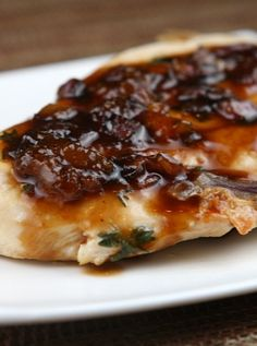 Apricot- Balsamic Chicken #recipe - Perfect, easy family-friendly dinner idea :: from RecipeGirl.com