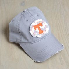 University of Tennessee College Grey Chevron Applique Hat {Bella Vita… Tennessee Volunteers Football, Ut Football, Tennessee Football, Tennessee Colleges, University Of Tennessee, Off Your Rocker, College Hats, Tn Vols, Tennessee Girls