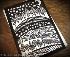 Scenic Night's Sky with Moon Stars Trees and by WildchildDesigns77