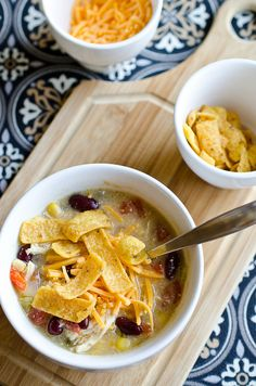 Slow Cooker Chicken Enchilada Soup ♥ Pennies on a Platter Chicken Enchilada Soup, Chicken Enchiladas, Salsa Chicken, Mexican Chicken, Taco Soup, Tortilla Soup, Enchilada Sauce, Tortilla Chips, Chicken Soup