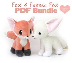 Animal Sewing PDF sewing pattern bundle - Fox and Fennec stuffed animal with video tutorials - wolf canine dog Pokemon plushie kawaii plush - Teacup Puppies! Printable sewing pattern with video, photo Fox Stuffed Animal, Sewing Stuffed Animals, Stuffed Animal Patterns, Cute Stuffed Animals, Plushie Patterns, Animal Sewing Patterns, Pattern Sewing, Knitting Patterns, Sewing Projects For Beginners