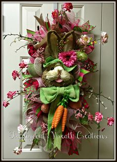 Easter Bunny Swag deco mesh and burlap wreath by Twentycoats Wreath Creations (2016)