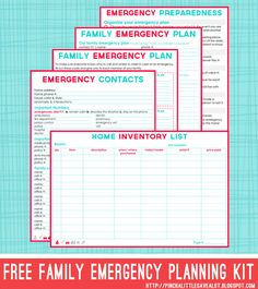If you take your DIY planner everywhere, Emergency plans and numbers is a must have. Free printable Family Emergency Planning Kit for you planner or at home use. Emergency Preparation, Emergency Planning, Survival Blog, Homestead Survival, Survival Gear, Survival Skills, Survival Guide, Outdoor Survival, Home Binder