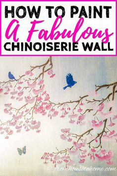 This DIY Chinoiserie wallpaper is so cool! I love the pink flowers and blue birds on the silver background. Since it is painted, it's a really easy way to decorate your dining room, and so affordable when you're on a budget. | Painting Tips